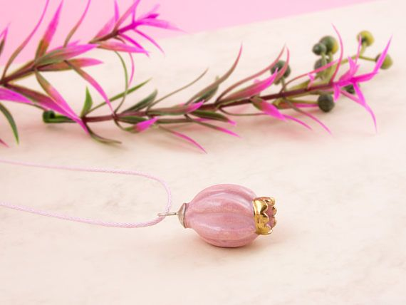 Pink pendant necklace pink clay pendant pink pendant gold