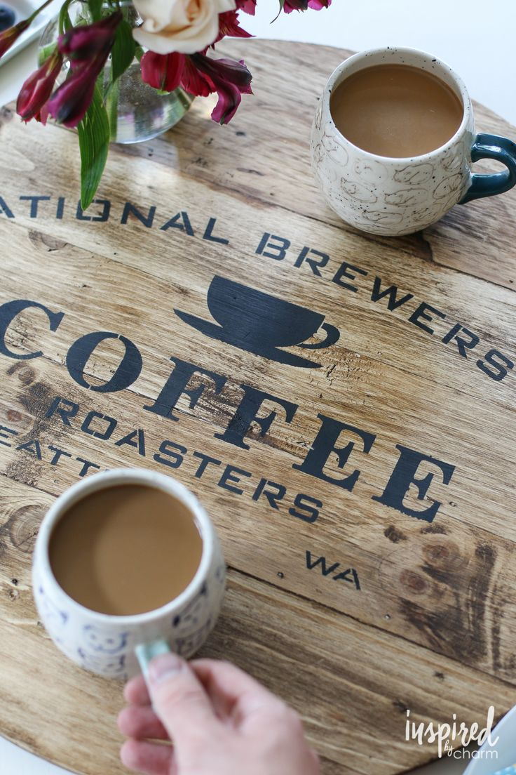 DIY Stenciled Coffee Tray - a fun and easy project to personalize a fun and functional tray.