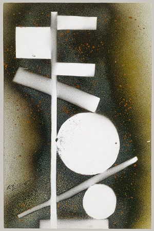 DS 1958, 1958,  David Smith (American, 1906–1965) Spray and stenciled enamel on paper; 17 1/2 x 11 1/2 in.