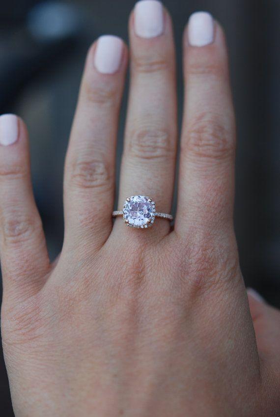 Sapphire Engagement Ring 14k Rose Gold Diamond Ring 2.67ct Cushion Mauve Blush Ice Peach Sapphire, Sold.