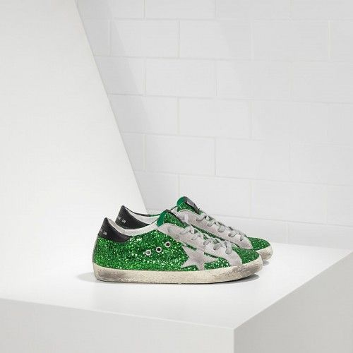 Golden Goose Soldes - Sneakers Golden Goose Super Star In Verte All Over Glitter Smeared Leather With Suede Star Femme Solde