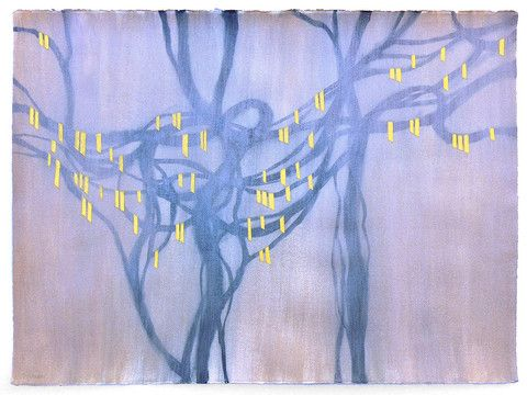 Yellow Ribbons by Gauri Torgalkar | PLATFORMstore | Acrylic and Gold Leaf on Watercolour Paper