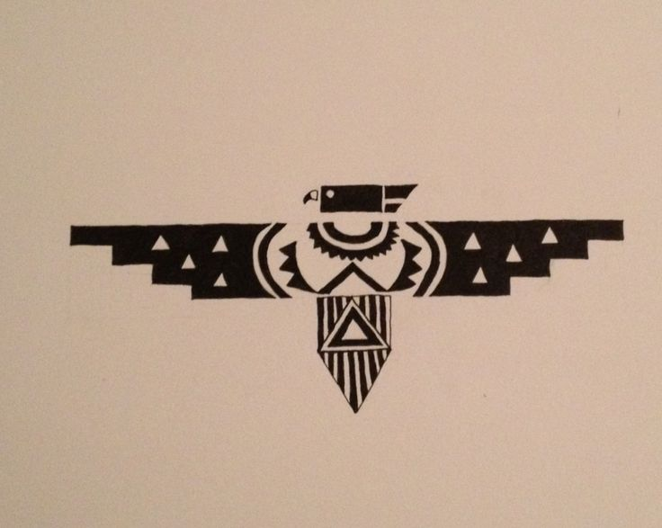 The thunderbird symbolizes unlimited happiness. ink drawing by Jordan Rueter