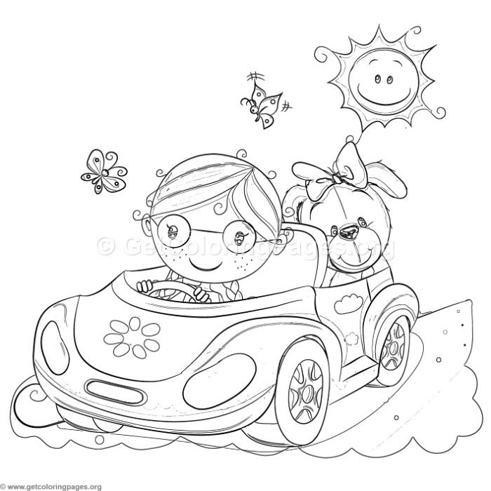 Free Download Little Girl And Puppy Driving Coloring Pages Coloring Coloringbook Coloringpages Animal Coloring Pages Coloring Pages Pattern Coloring Pages