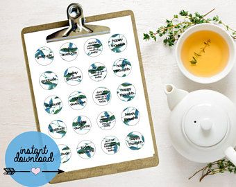 """Leaf Print Printable Stickers - 1.5"""" Round Stickers - AVERY labels - Instant Download"""