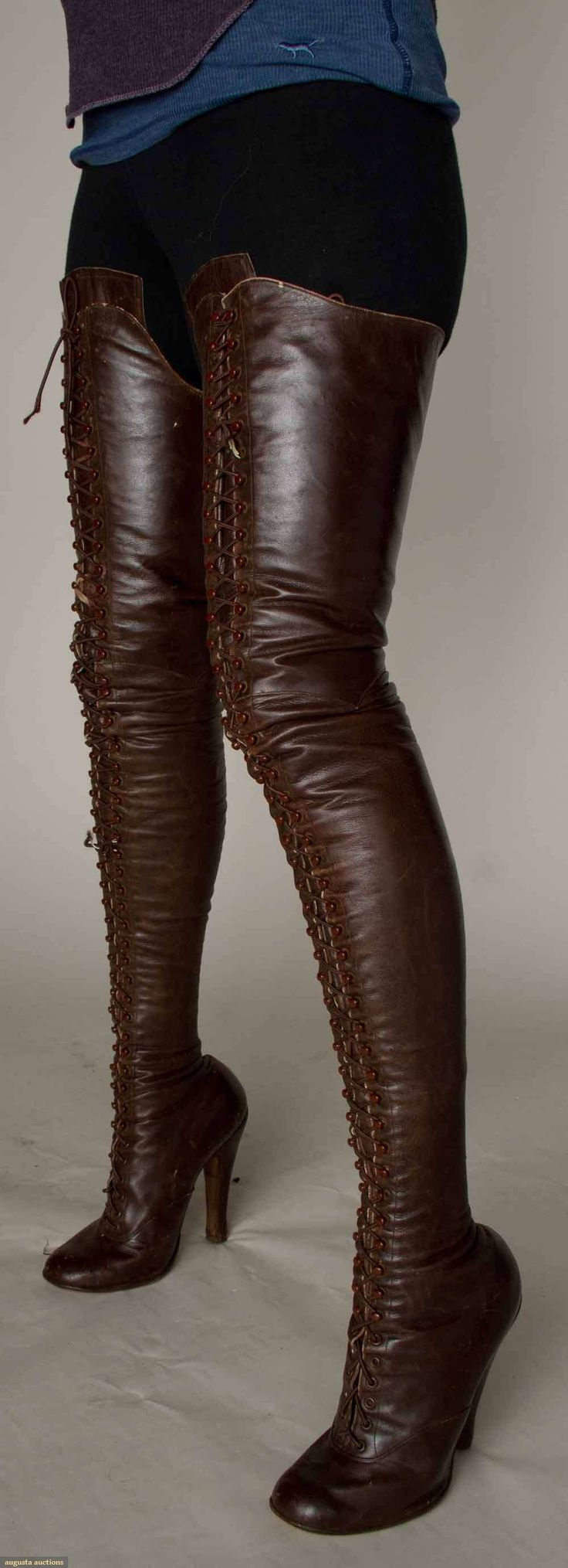 pair of ladies fetish boots in brown leather, c. 1890