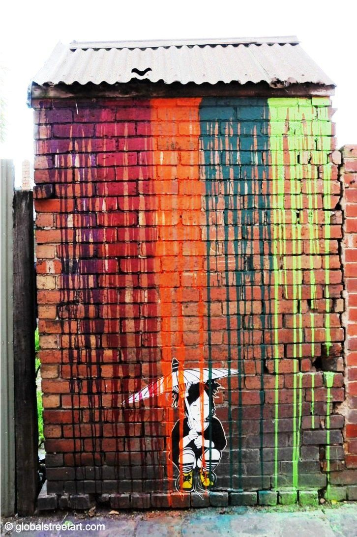 Be Free in Melbourne. This endearing piece uses paint as coloured rain. If you happen to be in Melbourne next week check out the Borrowers exhibition featuring Be Free (www.facebook.com/events/442633975770409/).