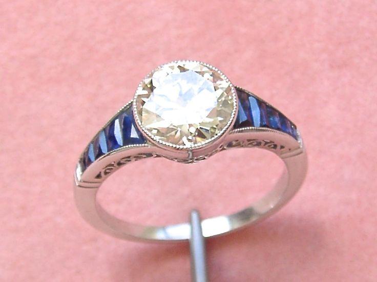 ESTATE DECO 1.84ct EUROPEAN DIAMOND SAPPHIRE PLATINUM ENGAGEMENT COCKTAIL RING #Handmade #ARTDECOENGAGEMENTorCOCKTAILRING
