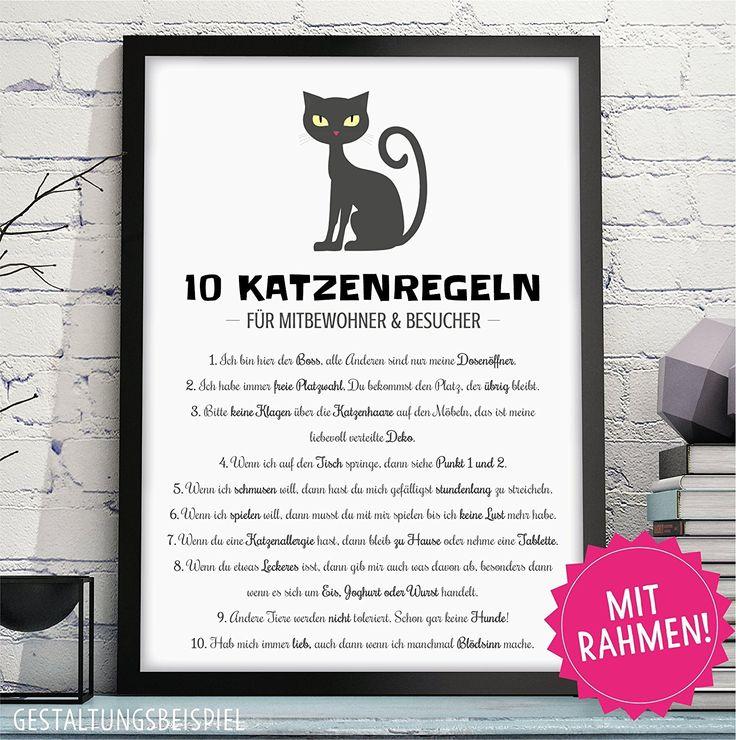 Simple  KATZENREGELN HAUSORDNUNG lustiger Kunstdruck in DIN A mit schwarzen Rahmen als perfekte Geschenkidee f r