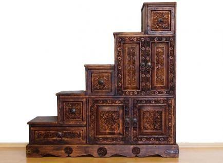 Epic antik look wohnwand orient Massiv Holz Schrank Treppenschrank Kommode Regal Stair Cabinet Bauernschrank Afghanistan Nuristan