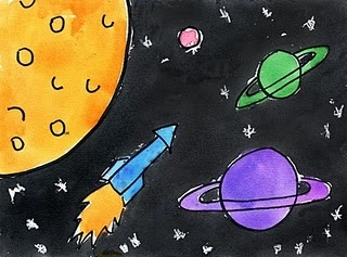 Outer Space Watercolor painting.