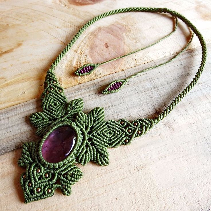 Macrame Necklace Pendant Cabochon Amethyst Stone Cotton Waxed Cord Handmade #Handmade #Wrap