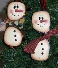 Re-purposed glasses made into snowman ornaments...  Junktion Alley — with Jillian Johnson and Karen White.