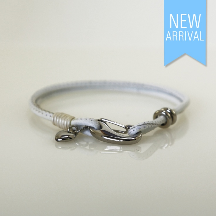 Bracelet Nappa Leather White with 2 Rings and 1 Heart Bead #Brachelet #NewArrivals #GinaAdornments