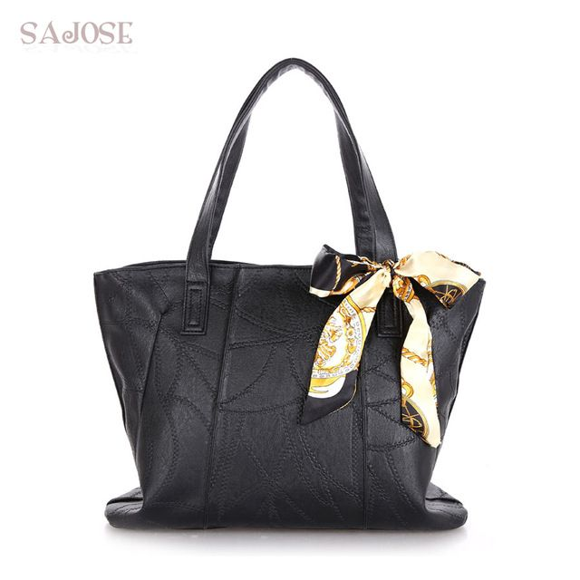 Best Deals $12.48, Buy Women Bags PU Leather Fashion Handbags Women's Shoulder Messenger Tote Bags Autumn and Winter Scarf Black High Capacity SAJOSE