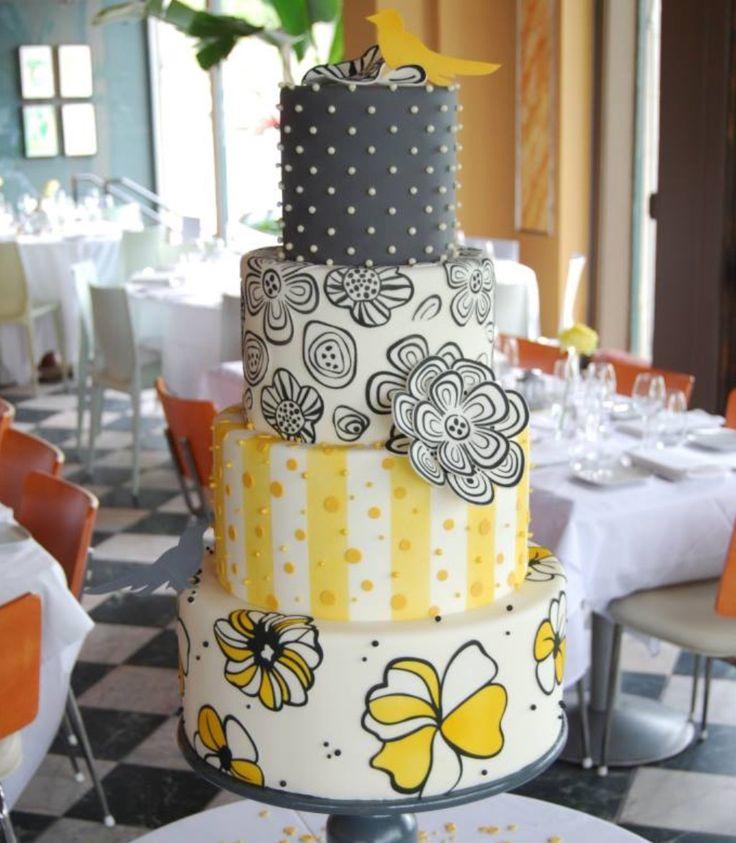 Yellow and Grays Everything Cake