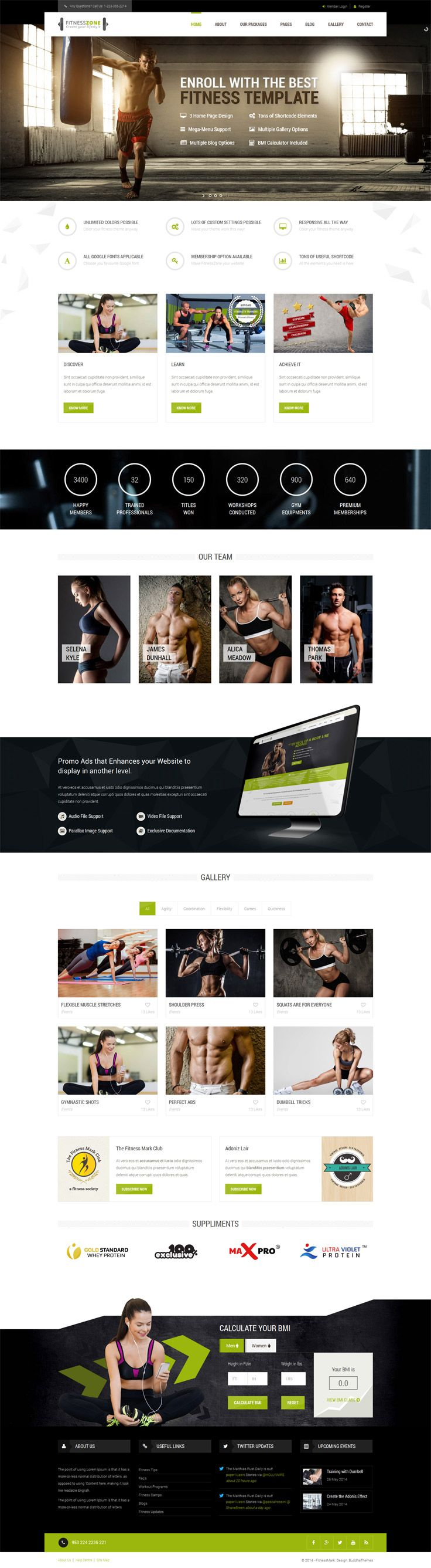 #Fitness Zone website #template muscled for modern trend, gyms, sport club or fitness center and personal trainers! Fully #responsive layout that looks great on mobile and tablet devices. Effective Skins, easy to edit modules, Mega Menu, Sticky Navigation, Mobile Nav for Smart Phones, Blog page with comments, filterable portfolio with details page variations, responsive Short-codes and working contact form page with map. Mega pack template for your website to impress your site visitors!