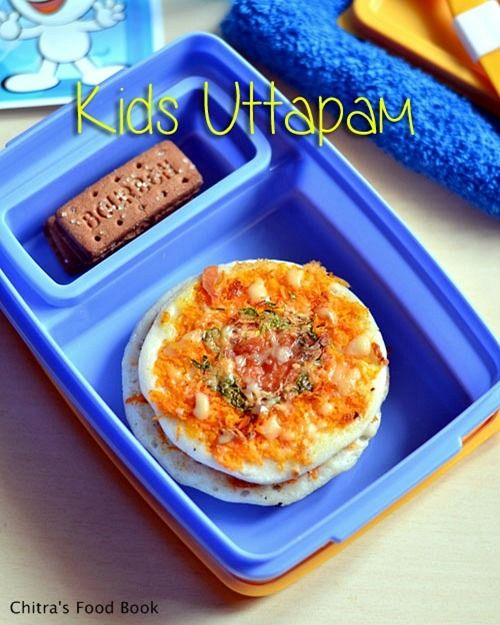 Cheesy veg uttapam for kids lunch box !