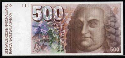Switzerland money 500 Swiss Francs banknote, Albrecht von