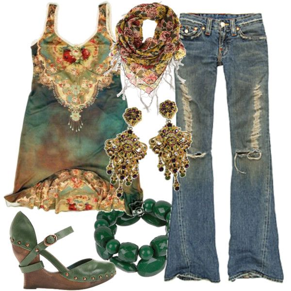 Untitled, created by kimmdavis on PolyvoreBoho Chic, Boho Outfit, Fashion, Boho Gypsy, Casual Outfit, Casual Boho, Hippie, Summer Style, Jeans Outfit