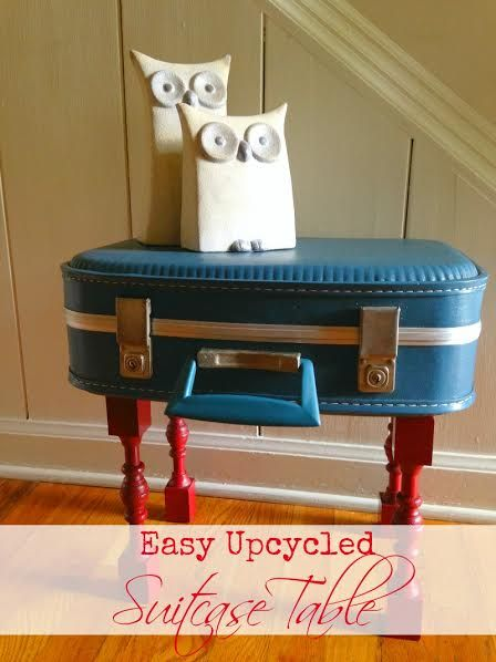 Upcycled Suitcase Table DIY - The cutest and easiest thing you can do with an old suitcase!