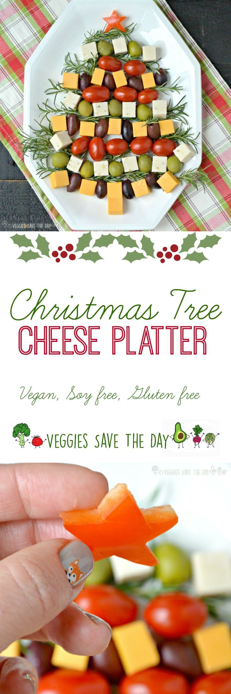 Learn how to make a Christmas Tree Cheese Platter in 5 easy steps! (vegan, soy free, gluten free)