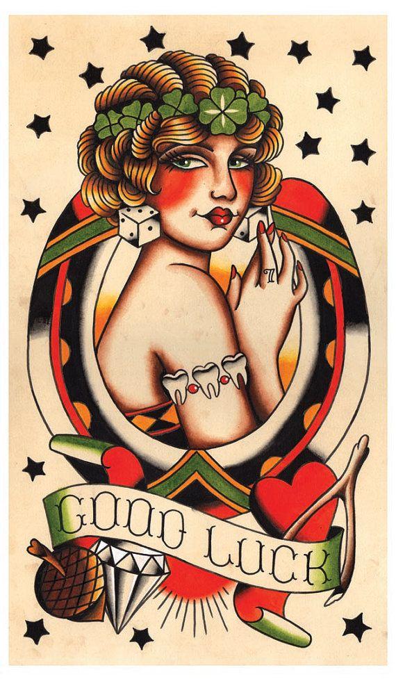 Vintage Lady Luck, Good Luck, Tattoo Flash Print