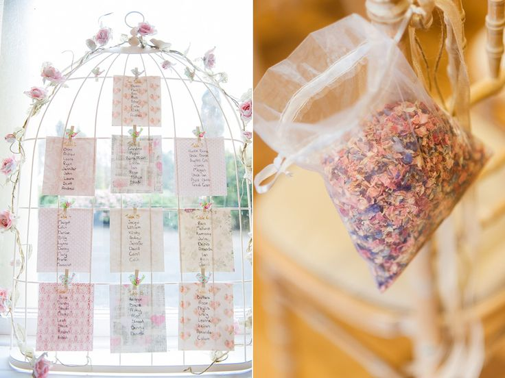 """Bird cage wedding table plan from """"Gypsophila Bouquet for a Pretty Handmade Scottish Wedding in the Spring"""" Photographed by http://www.andi-watson.co.uk/"""