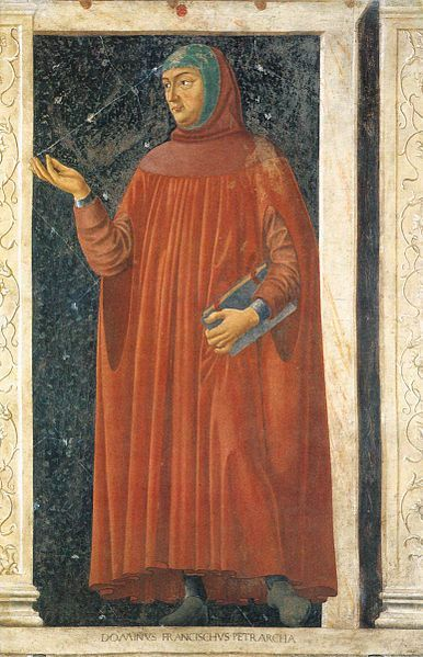 Petrarch, from the Cycle of Famous Men and Women. ca. 1450. Detached fresco. 247 × 153 cm (97.24 × 60.24 in). Galleria degli Uffizi, Florence, Italy. Artist: Andrea di Bartolo di Bargilla (ca. 1423–1457)
