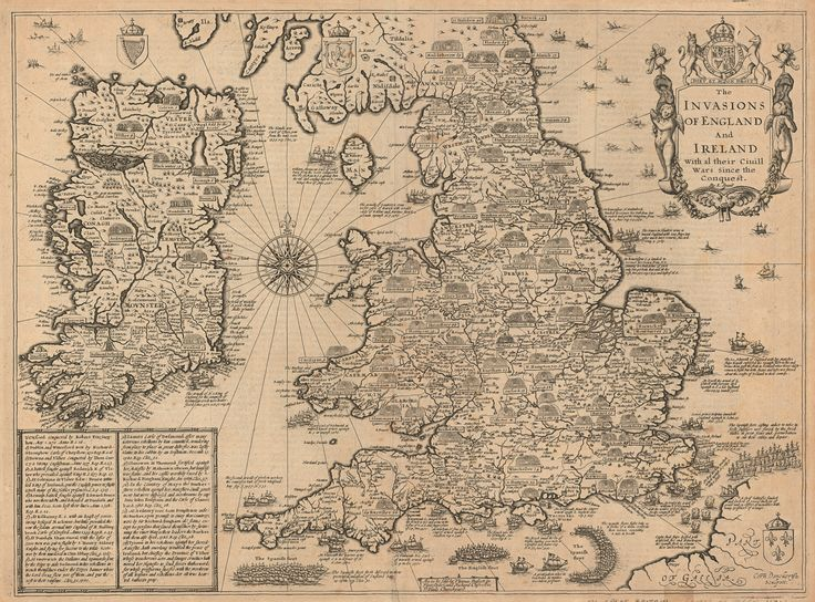 The Invasions of England and Ireland: With Al Their Ciuill Wars since the Conquest. #map by John Speed 1676