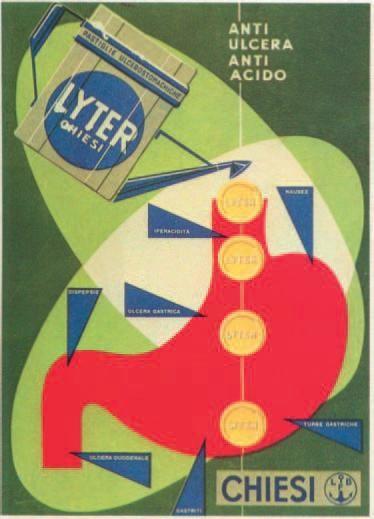 Chiesi: Cartellone pubblicitario dell'antiulcera LYTER (anni cinquanta)