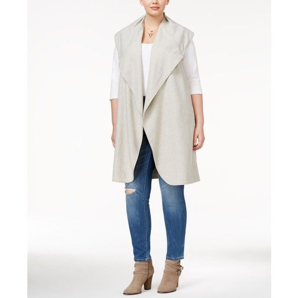 Whitespace Trendy Plus Size Duster Vest ($138) ❤ liked on Polyvore featuring plus size women's fashion, plus size clothing, plus size outerwear, plus size vests, light grey, plus size vest, womens plus size vests, vest waistcoat and light grey vest