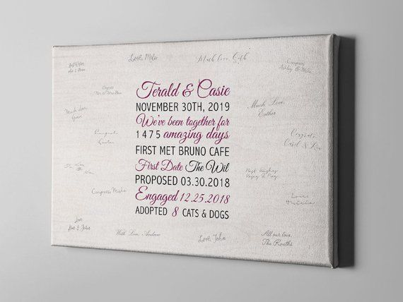SALE 50 Off Canvas Guest Book, Fun Facts Wedding Guest Book
