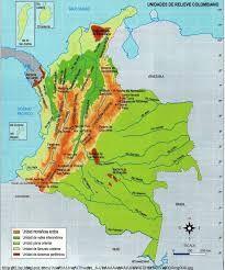 Resultado de imagen para relieve de colombia mapa con sus nombres