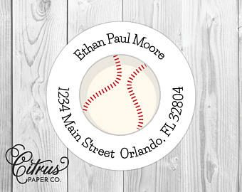 baseball return address labels 2 round stickers glossy or