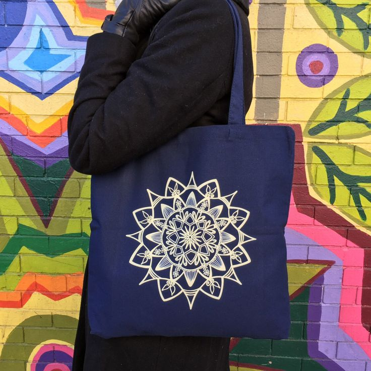 Hand-drawn Mandala Canvas Tote Bag - Navy by AlientoDesigns on Etsy https://www.etsy.com/listing/498308037/hand-drawn-mandala-canvas-tote-bag-navy