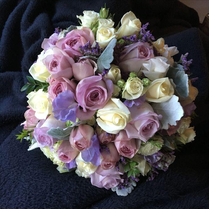 Mauve lisianthus and roses @weddingflowersetc