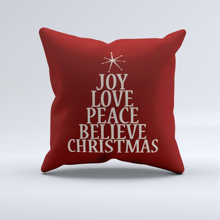 Christmas Word Tree Throw Pillow, red and white holiday decorative throw pilllows