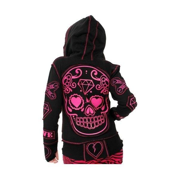 Poizen Industries - Sugar Skull Hoody (Black/Pink) *LAST ONE* - Poizen Industries ($6.47) found on Polyvore