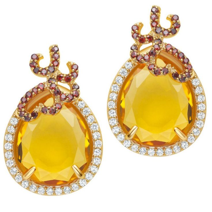 Silver Whispering Earrings - Citrine - Fei Liu #jewellery #feiliu #necklace #luxury #earrings
