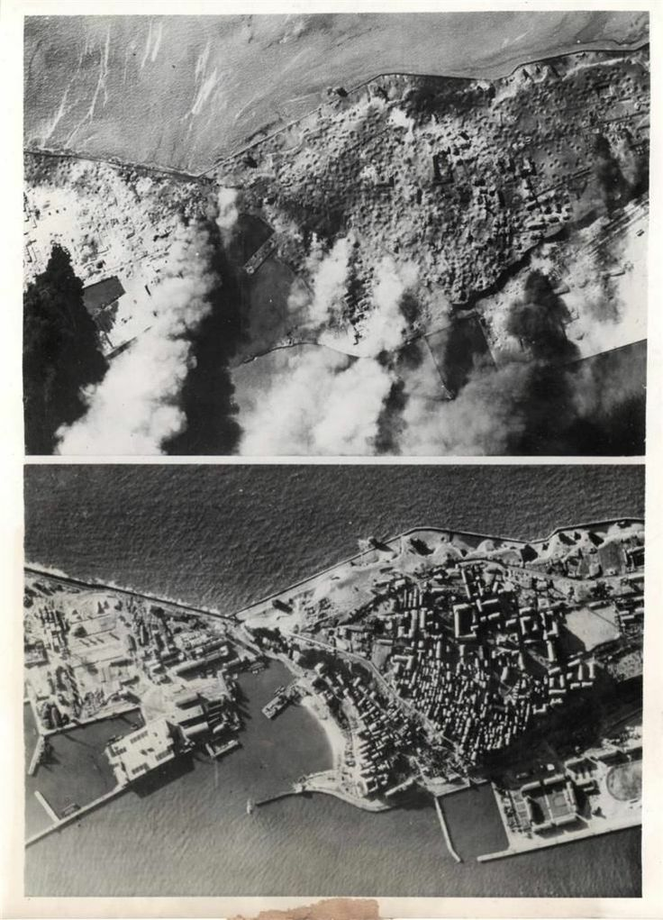 1945- Two photos of the naval base at Heligoland show the before and after bombing and strafing by the R.A.F.