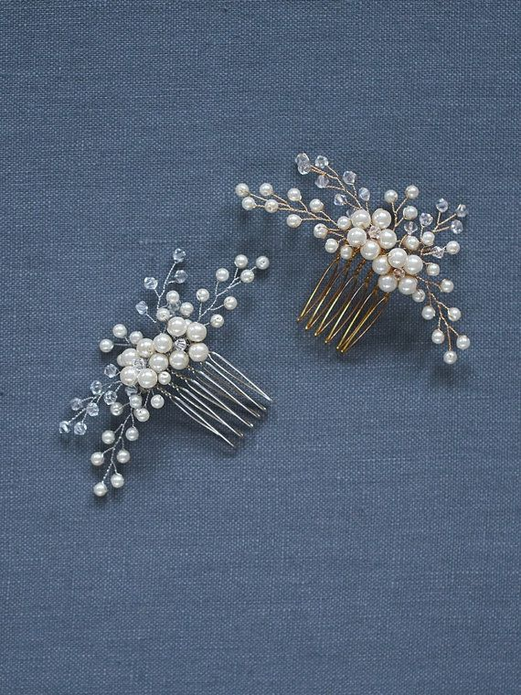 Daphne Comb Opalescent and pearly buds blossom from handspun golden wire. This ivory bridal hair comb cultivates the perfect blend of bohemian