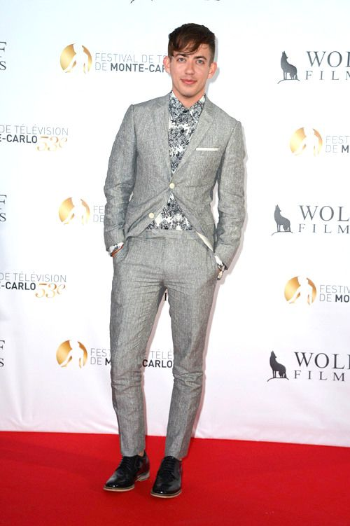 Kevin McHale in a Topman suit at the Dick Wolf NBC party in Monaco