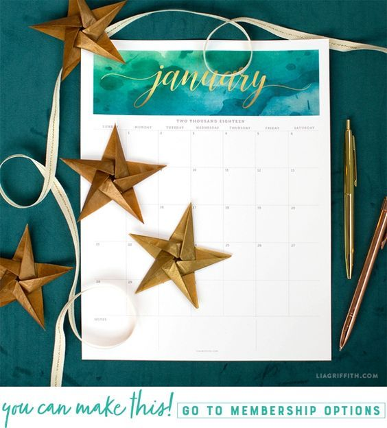 Download a FREE January 2018 printable calendar - Lia Griffith - www.liagriffith.com #printables #printable #free #freebies #paperart #diycalendar #madewithlia