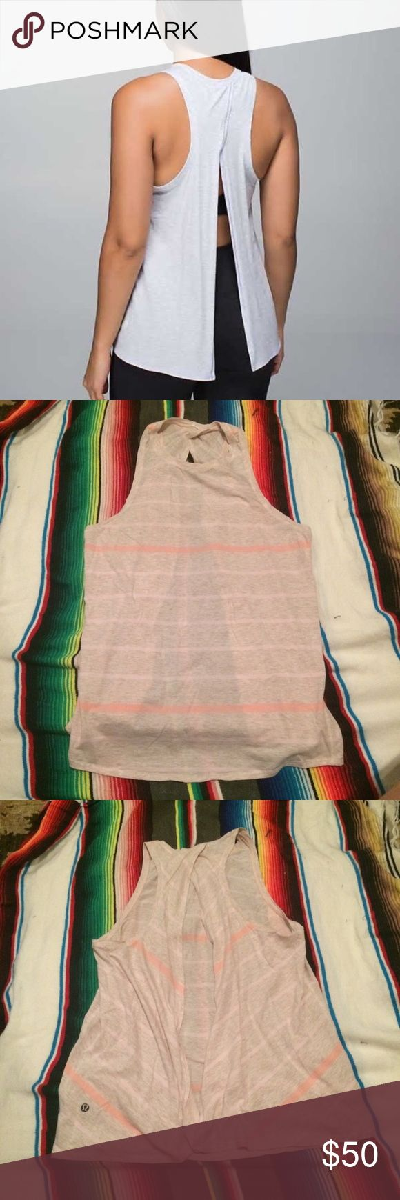 Lululemon All Tied Up Tank EUC/LN... Lululemon All Tied Up Tank, please no low balling, all item is priced accordingly to its condition, the higher the price the better the condition, the lower the price the more the flaws (piling, stains), ask all questions/concern below about item...yellow light may make color look off... lululemon athletica Tops