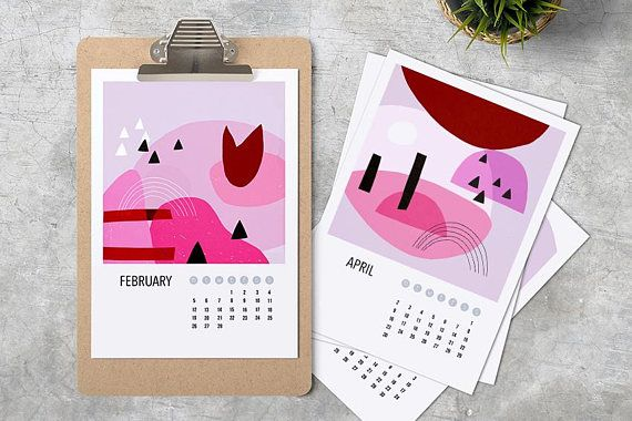 Check out this item in my Etsy shop https://www.etsy.com/listing/573584053/printable-pink-abstract-calendar-2018-a4