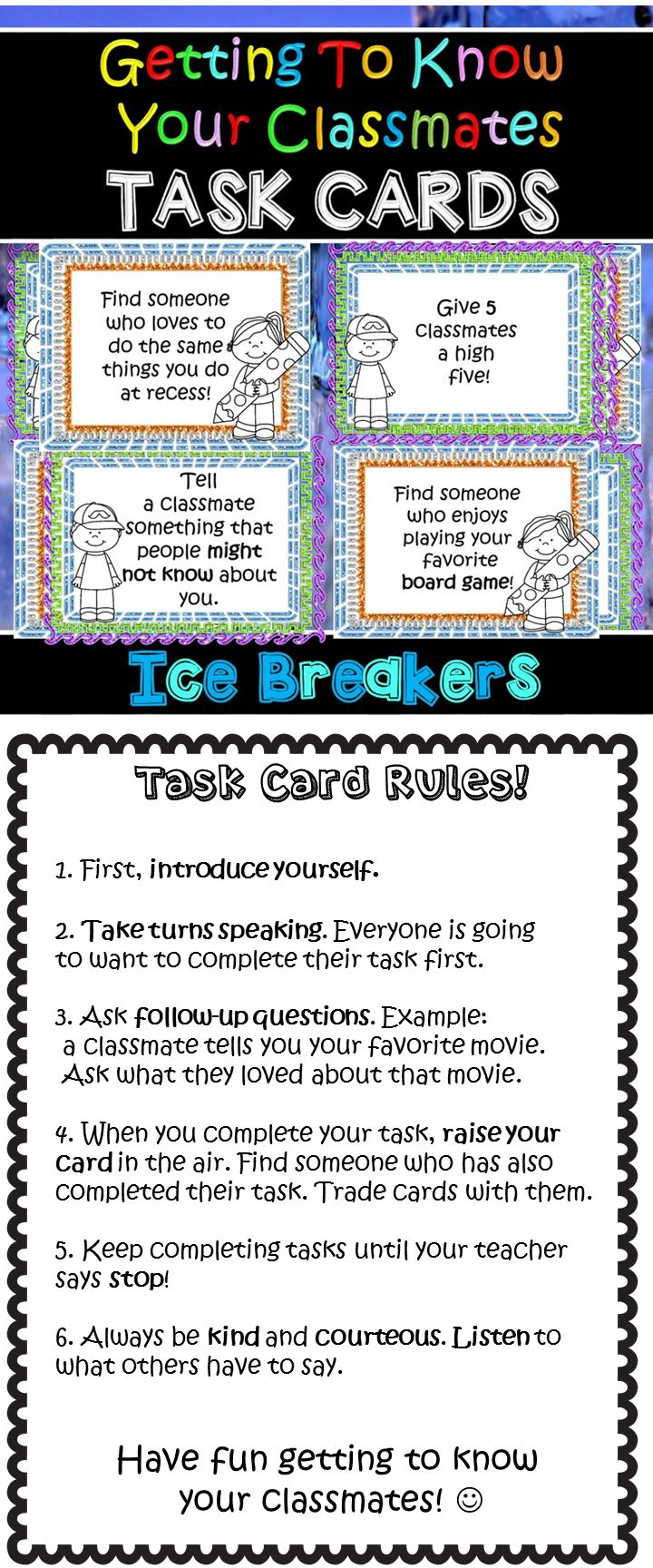 Getting to know your classmates Task Cards! Fun ice breaker games for back to school! beginning of the year fun