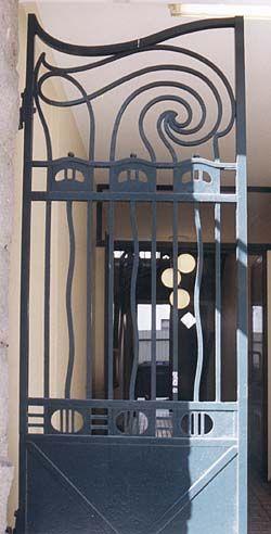 Solum Sparebank, Torggaten 5, Skien (Norway). Bank building designed by Heinrich Karsten and raised in 1907. Wrought iron gate.