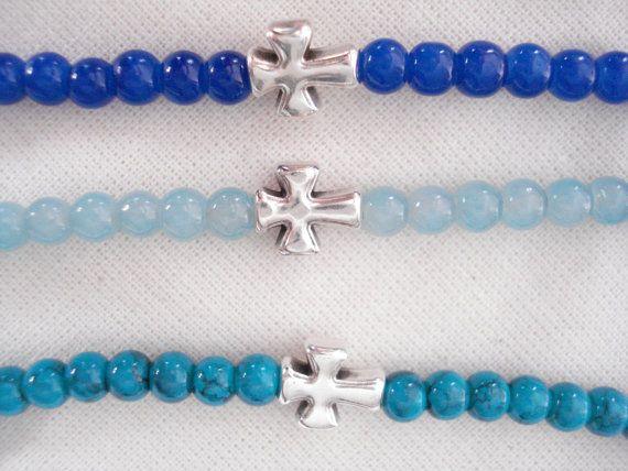 Men's bracelet Beaded friendship bracelet Cross by Poppyg on Etsy