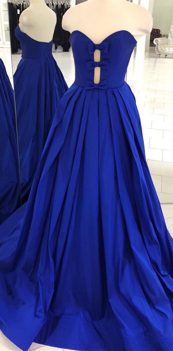 Trägerloses Königsblau Langes Abendkleid von modseleystore